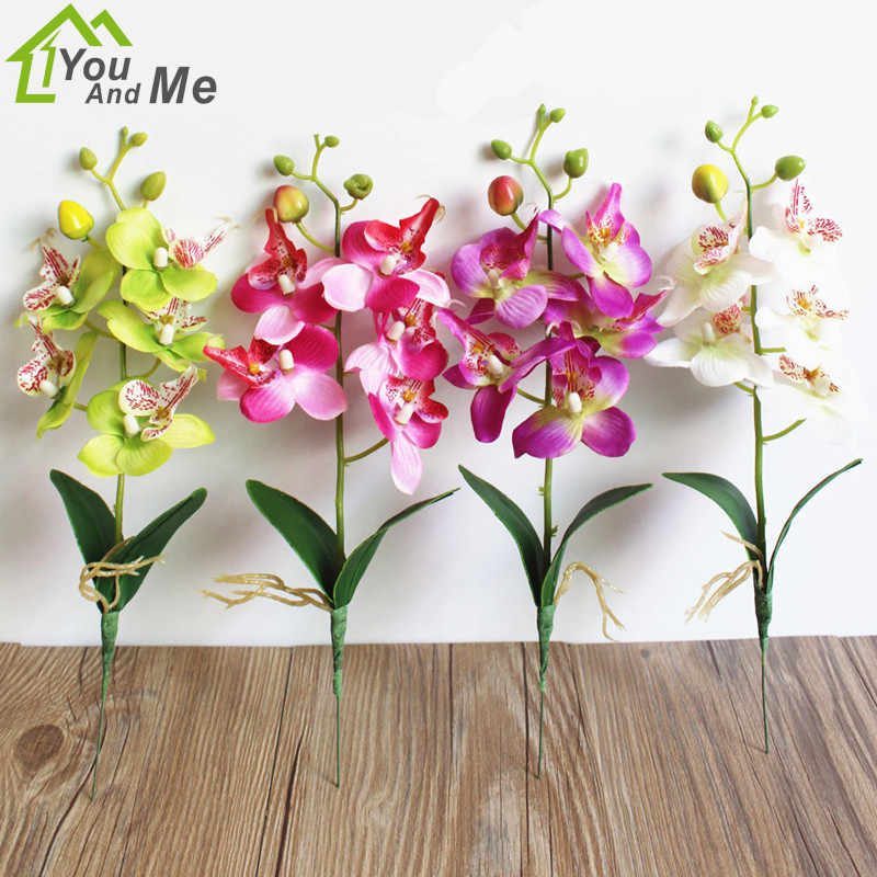 Artificial Flower Green Phalaenopsis Simulation Moth Orchid Leaf Home Decor Chic