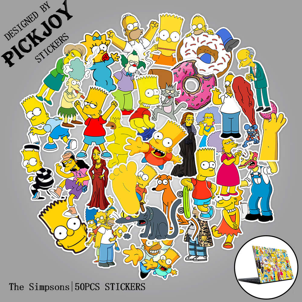 50pcs/Pack American Hot Anime The Simpsons Stickers Cartoon Toy Stickers For Laptop Luggage Pad Phone Skateboard Kids Gifts