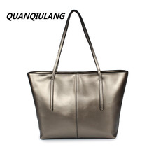 2017 new style plain silvery black cowhide leather large casual open pocket shopping bag high-grade fashion women shoulder bag