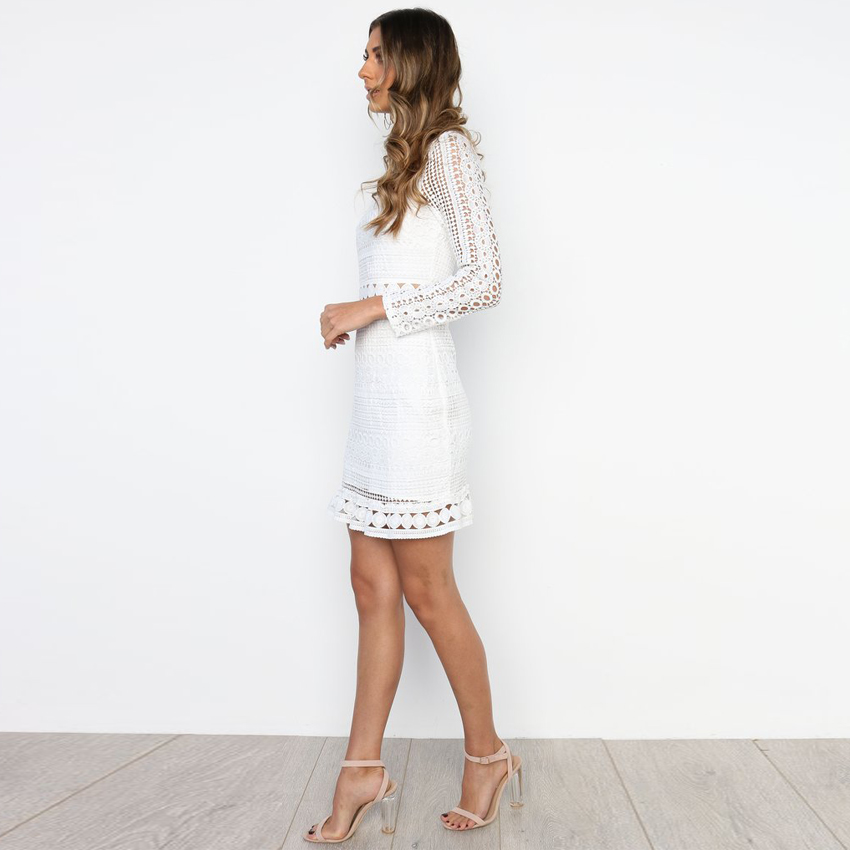Vintage White Lace O-neck Dress