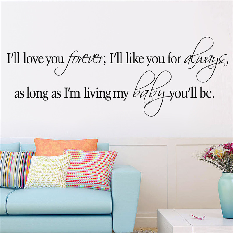 I Will Love You Forever <font><b>Home</b></font> Room <font><b>Decor</b></font> Vinyl Wall Decal Quote Bedroom Removable PVC Wall Sticker <font><b>Inspiration</b></font>