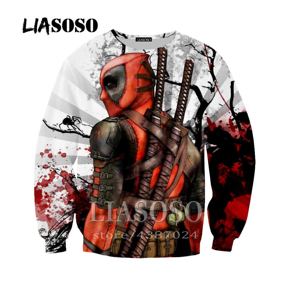 LIASOSO Dropshipping Deadpool Sweatshirt 3D Printing Casual Long Sleeve Hoodie Hooded Pocket Pullover For Men Women Y251