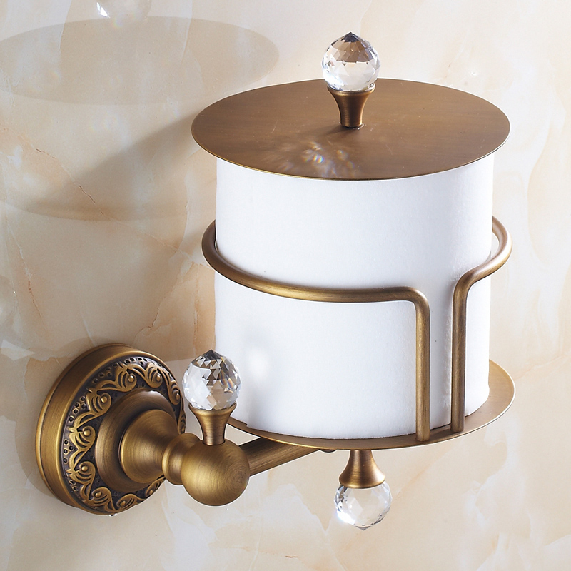 где купить Crystal and Brass Bronze Toilet Paper Holder Antique Brush Wall Mounted Toilet Paper Box Roll Holder Toilet Accessories Sets AC по лучшей цене