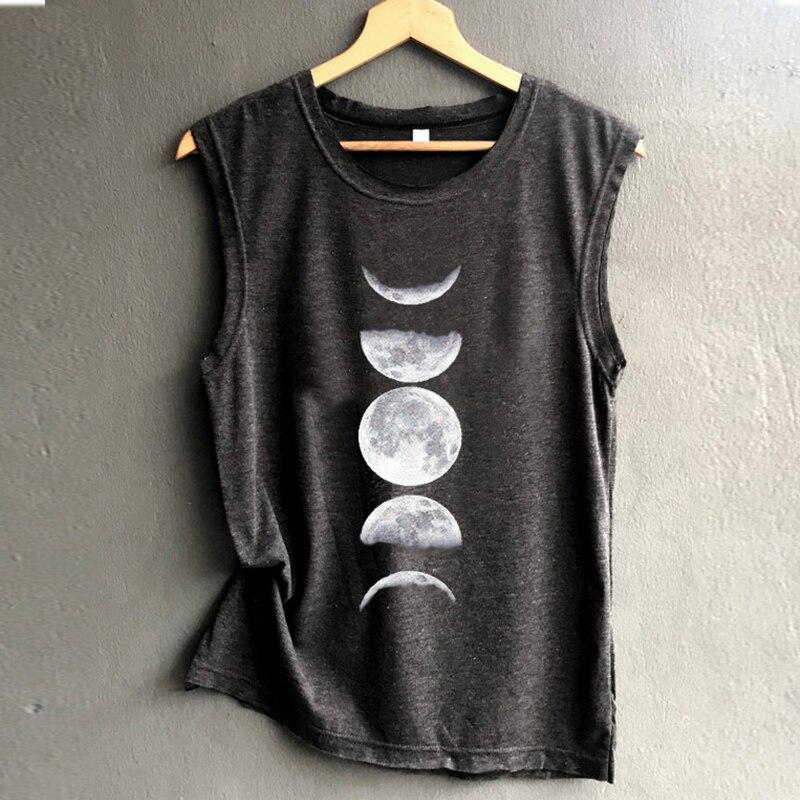 Moon Tank Sleeveless Tops Women Black Summer Fashion  Tanks Top Plus Size Sexy Womens Clothing Casual Girls Love Casual