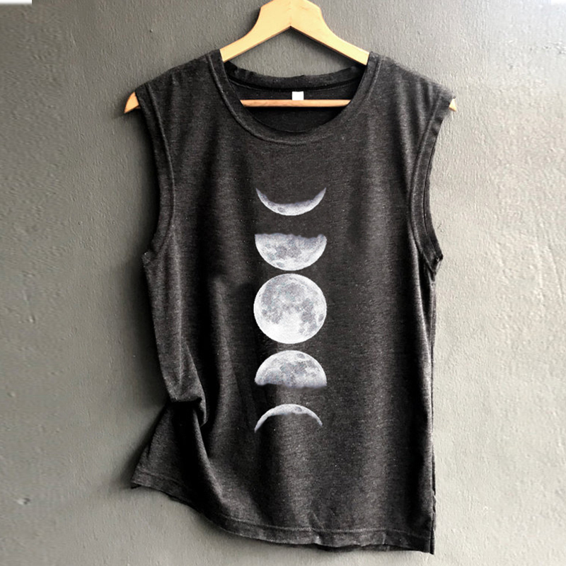 Moon   Tank   Sleeveless   Tops   Women Black Summer Fashion   Tanks     Top   Plus Size Sexy Womens Clothing Casual Girls Love Casual