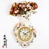 Tuda Free Shipping Large Wall Clock Modern Creative Fashion Resin Vase Shaped Wall Clock Morden Design
