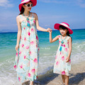 Family Set Clothes For Mother and Daughter New Arrival Beach Dress the Printed Sleeveless Dress Bohemian Holiday Maxi Dress