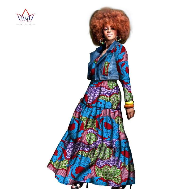2019 automne robe africaine pour les femmes deux pièces manteau et robe vêtements traditionnels africains dashiki grande taille ensemble naturel WY1436