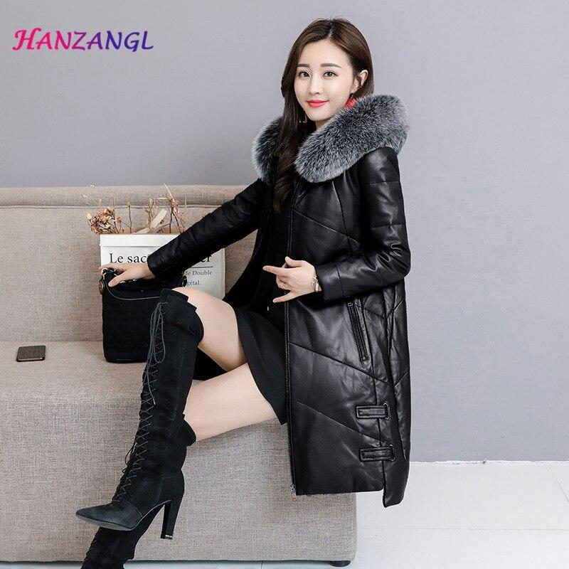 HANZANGL Winter Fashion Sheep   Leather   Coat 2018 New Women Long Fox Fur Hooded   Leather   Down Jacket Feminino Parka Overcoat