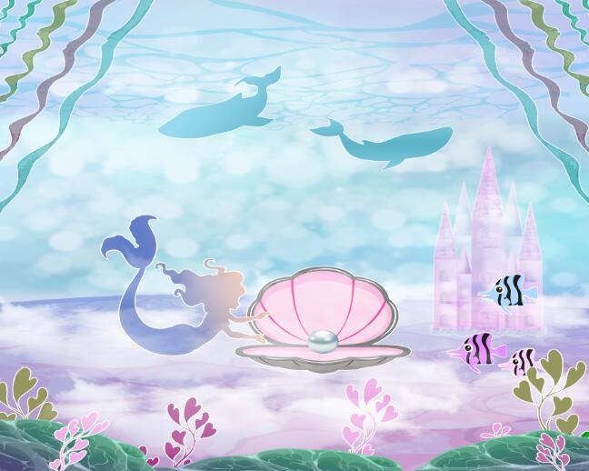 Engagement Party 15x10 FT Vinyl Photography Background Backdrops,Under The Sea Cartoon Fish and Crab with Sand Pearl Proposing Background for Photo Backdrop Studio Props Photo Backdrop Wall