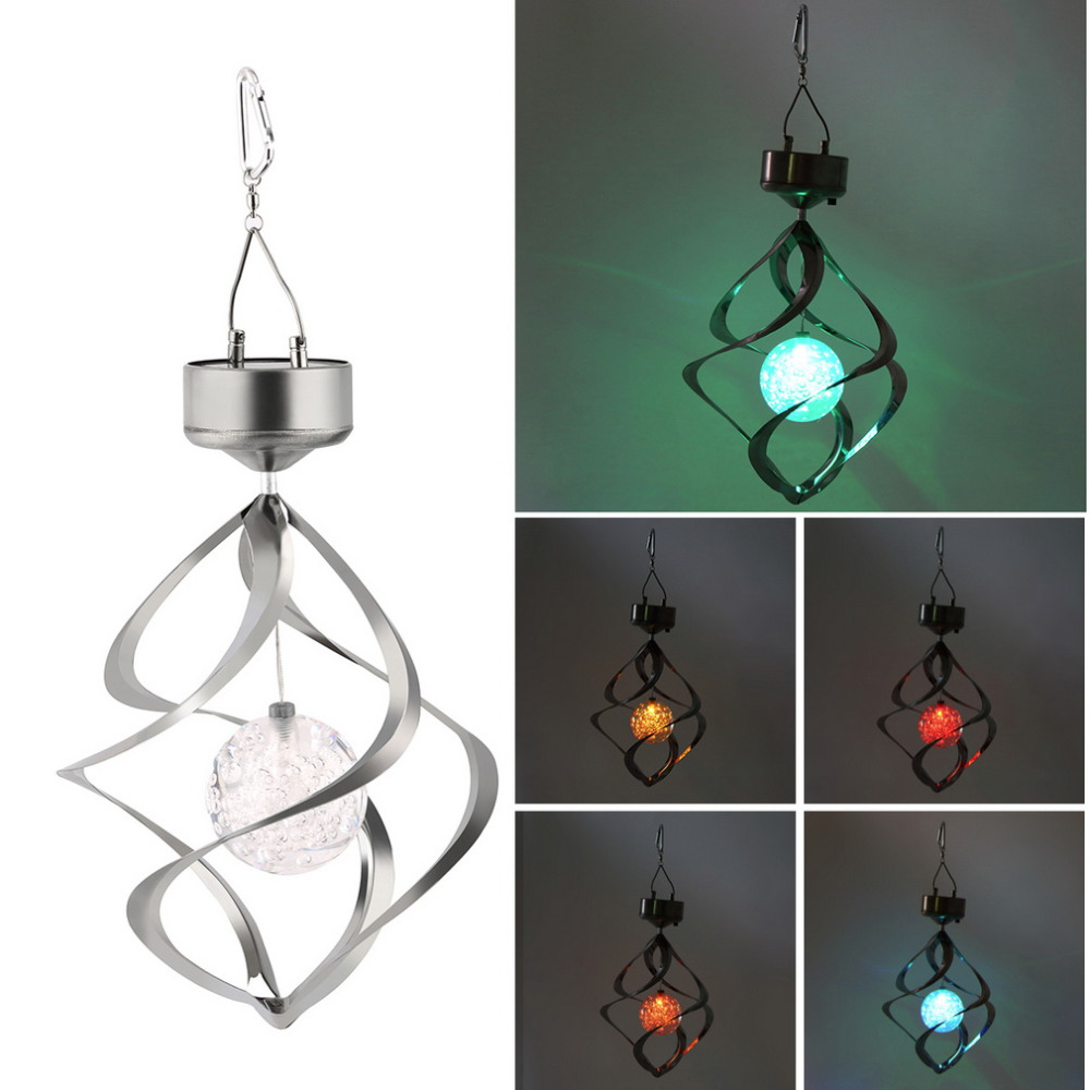 Color Changing Solar Powered LED Wind Chimes Wind Spinner Outdoor Hanging Spiral Garden Light Courtyard Decoration