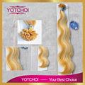 Yotchoi punta plana extensión del pelo color de resaltado onda del cuerpo P27 / 613# 1 g/pcs 100 unids/lote grado superior extensiones de pelo consolidado pre
