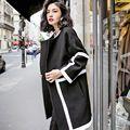 Europeus e EUA Moda Mulheres Casaco de lã trench coat feminino Preto branco do vintage textura senhora cardigans outono inverno solto outwear 250
