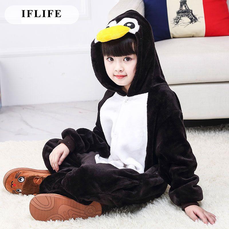 Kid's Kugurumi Onesie Animal Cartoon Penguin Cosplay Costume Flannel Pajama One Piece Boy Girl Child Pyjama Sleep Suit