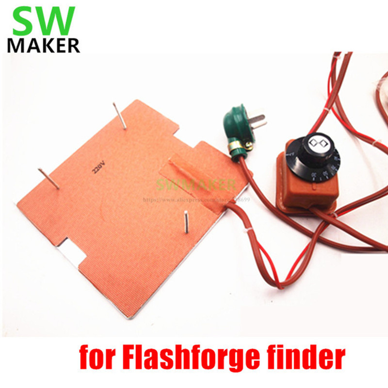 SWMAKER 120V/220V 250W silicone heater+aluminum base plate+glass heated bed upgrade kit for Flashforge finder 3D printer dia 400mm 900w 120v 3m ntc 100k round tank silicone heater huge 3d printer build plate heated bed electric heating plate element