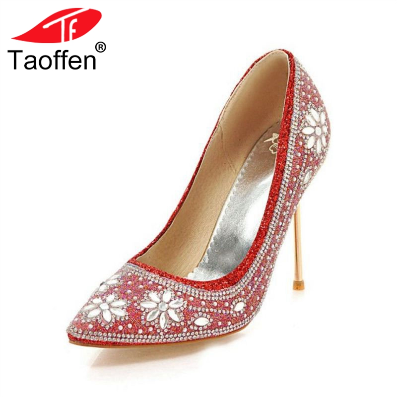 TAOFFEN Size 33-48 High Heels Shoes Women Pointed Toe Slip On Thin Heel Pumps Crystal Bling Women Sexy For Wedding Footwear sexy bling bling glitter high heel pumps women pointed toe metal heels party dress shoes slip on office lady dress shoes