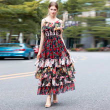 XF Rose Floral Print Sling Sexy Feminine Party Beach Holiday Elastic Waist Cake Style Summer Women Bohemian Dress
