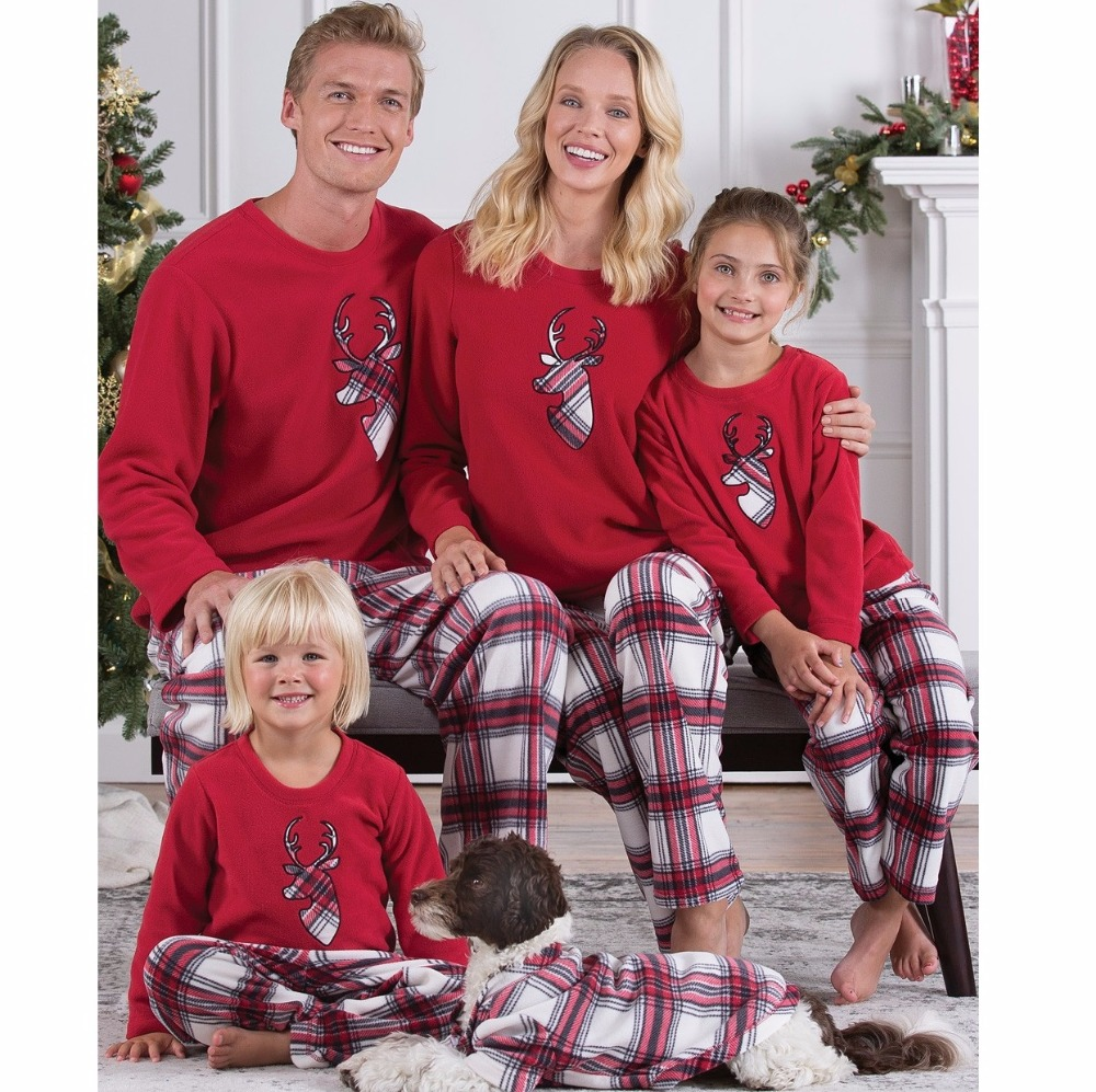 Casual Familie Set Plaid Deer Weihnachten Pyjamas Familie Passenden Nachtwäsche Kleidung Familie Kleidung Set Weihnachten Familie Pyjamas YN