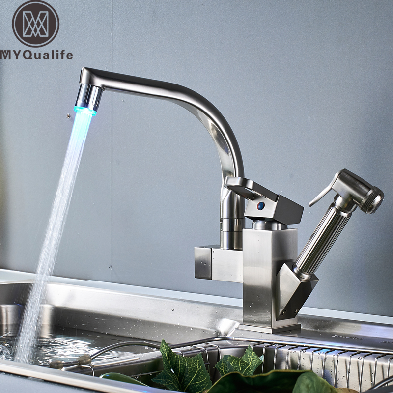 LED Pull Out Sprayer Swivel Kitchen Faucet Brushed Nickel Mixer Tap Deck Mounted