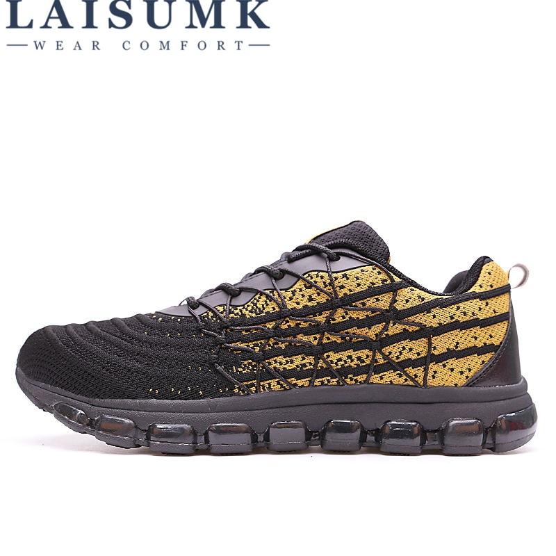LAIUSMK Autumn Air Cushion Shock Absorption Mesh Breathable Men Shoes Casual Sneakers Fashion Walking Male