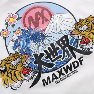 Image 4 - Hip Hop Hoodie Sweatshirts Embroidery Tiger Head Harajuku Streetwear 2018 Autumn Floral Wave Men Hoodie Pullover Cotton Oversize