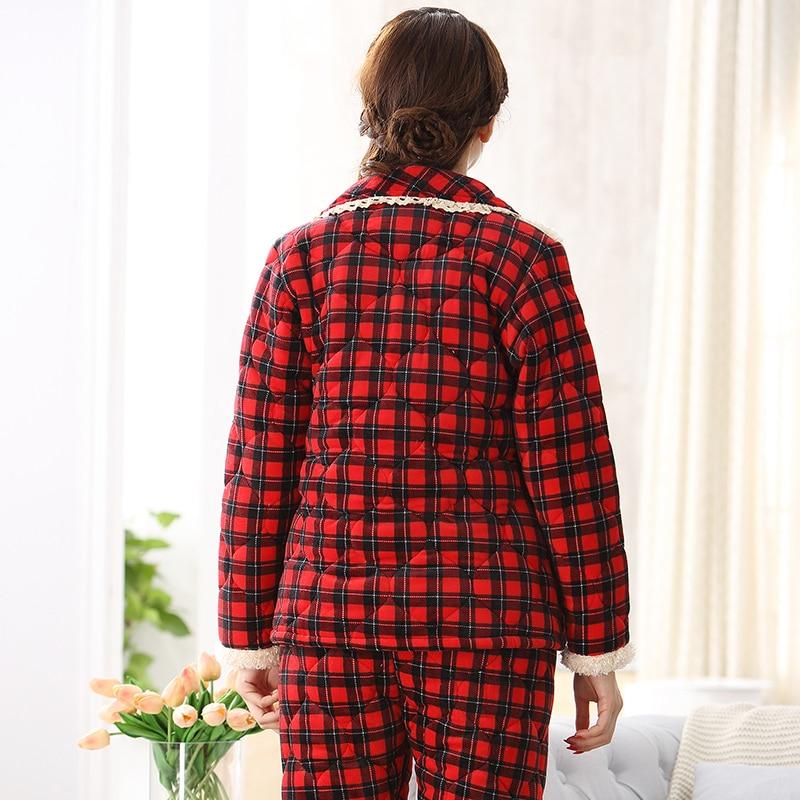 Jrmissli Women Winter Pajama Set Thickening Red Plaid Flannel