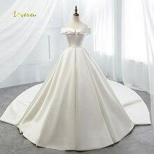 Loverxu Vestido De Noiva сексуальное винтажное свадебное платье с вырезом лодочкой с часовым шлейфом простое матовое атласное свадебное платье трапециевидной формы размера плюс