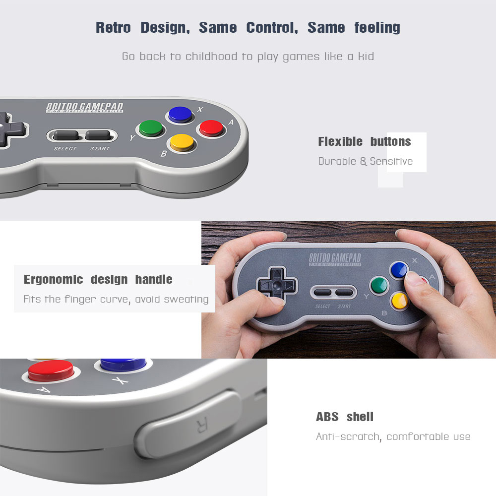 8BitDo SF30 Gamepad Wireless Game Controller with 2.4G NES Receiver for Android PC Mac 10