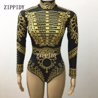 Sparkly Gold Black Rhinestone Bodysuit Female Singer Performance Leotard Stage Wear Shining Design Costume One piece Dance Wear