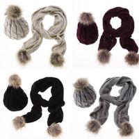 Casual Cotton Women Winter Warm Baggy Hat Scarf Crochet Wool Knit Beanie Beret Ski Cap Wrap
