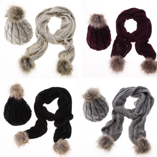 Casual Cotton Women Winter Warm Baggy Hat+Scarf Crochet Wool Knit Beanie Beret Ski Cap Wrap 2PCS