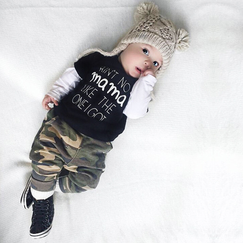 2017 New Baby clothing Set boy cotton long sleeve T-shirts+pants Infant bebe boys clothes set toddler kids cloth set Camouflage