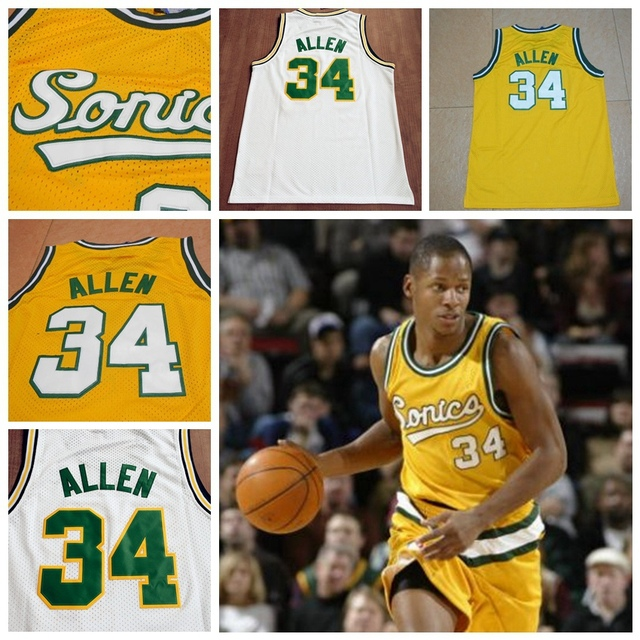 a4688893062 Seattle Supersonics  34 Ray Allen Throwback Jersey Retro Basketball Jerseys  Yellow White High Quality Mesh Embroidered Logos