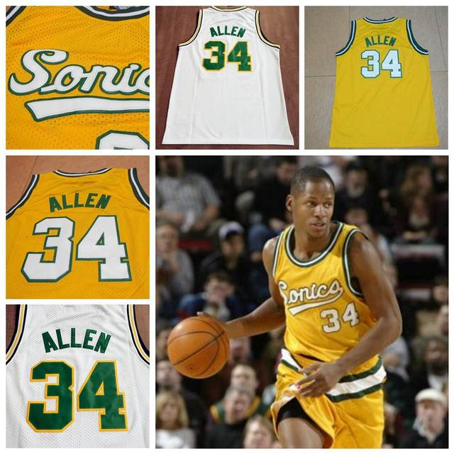 the latest d14b9 bc23d Seattle Supersonics #34 Ray Allen Throwback Jersey Retro ...