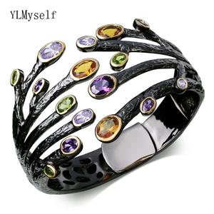 Image 3 - Fashion jewelry 2020 Black bangle multi cubic zirconia crystal bracelet femme armbanden voor vrouwen party bangles for women