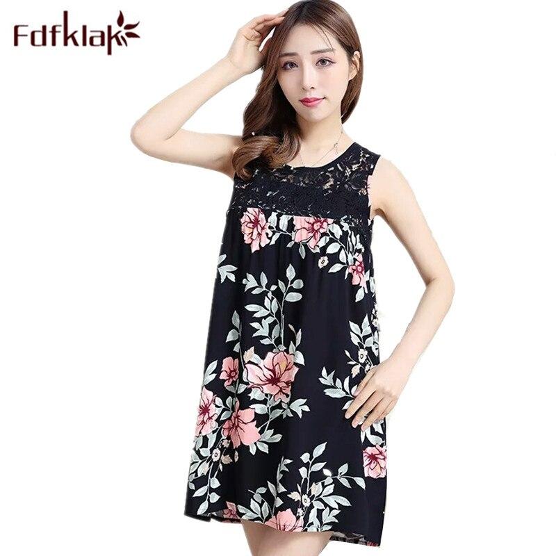 Fdfklak 2018 Summer Sleeveless Sexy Sleepwear Night Lingerie Dresses Night Floral Lace Night Gown   Nightgowns   &   Sleepshirts   Q933