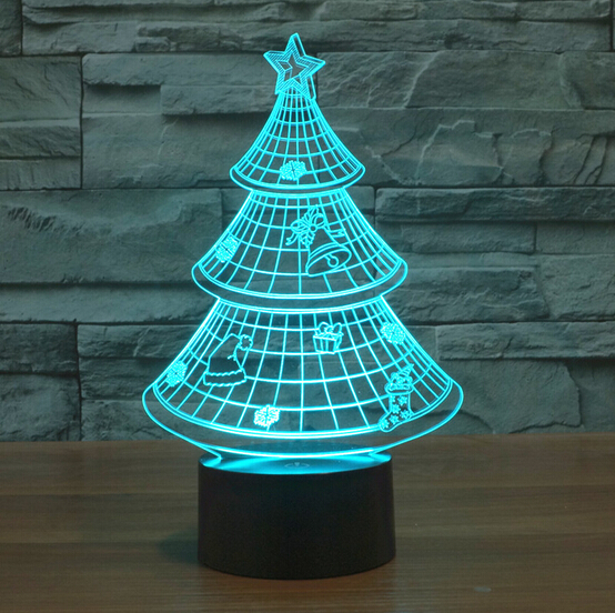 Frank Hot 7color Christmas Tree Changing 3d Bulbing Light Visual Illusion Led Lamp Creative Action Figure Toy Toys & Hobbies