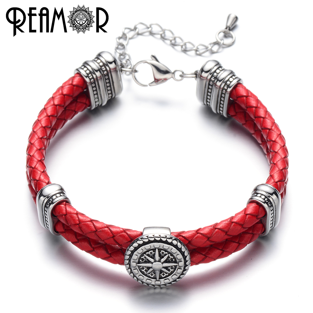 REAMOR Rudder Style Charms Bracelet 316L Stainless Steel Bangle & Bracelets Double Braided Leather Rope Bangles Unisex Jewelry