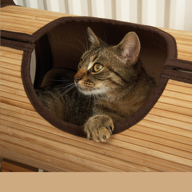 Natural Bamboo Radiator Cat Bed Home Tent Cat Tunnel Toys Hanging Wall Cat House Mat Habitat Cat Scratch Board Toys Pet Products 3