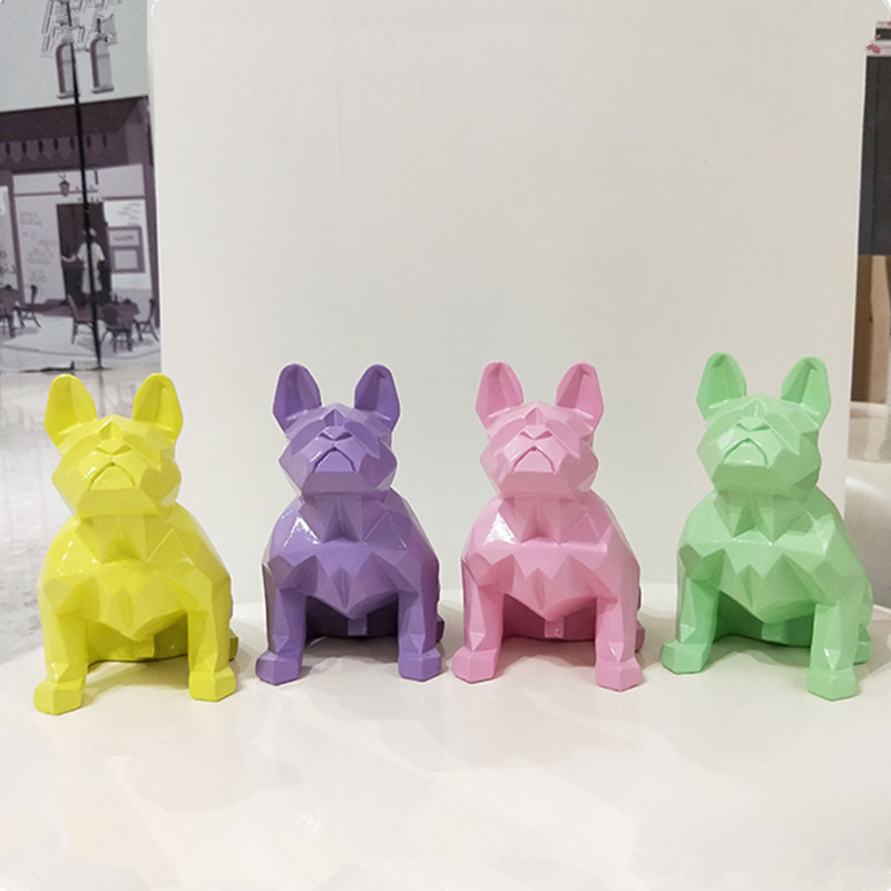 Large Size 13 Colors Creative Nordic Abstract Geometric Resin Dog Statue Modern Minimalist French Bulldog Sculpture Ornament