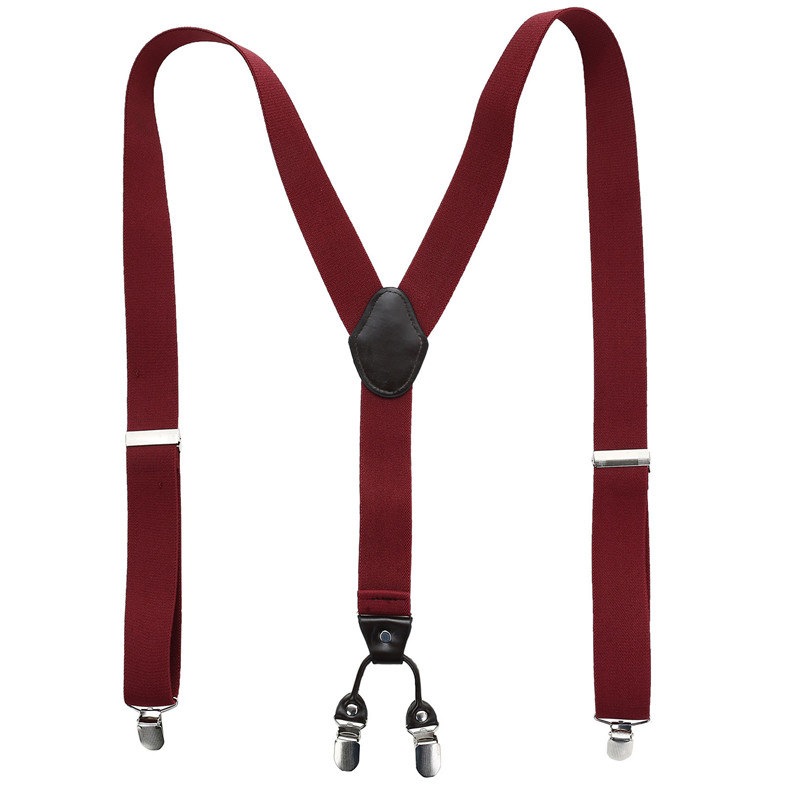 3317047f0 AWAY Leather Male Suspenders Fashion Adult Red Wine 4 Clips Elastic ...