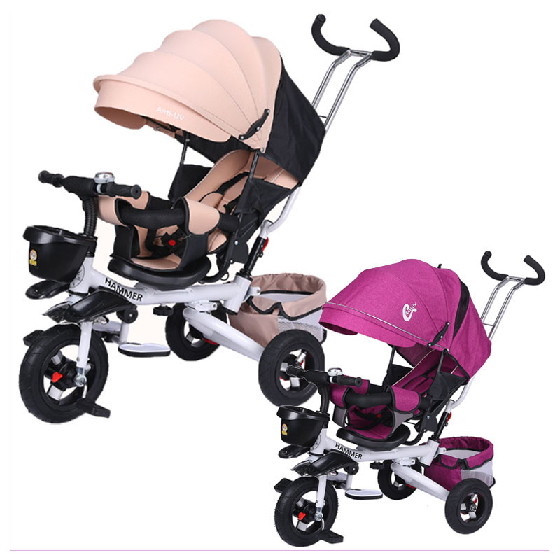 One-button Folding Child Tricycle Bicycle Swivel Seat Baby Tricycle Stroller Reverse Push Handle Lie Baby Carriage Pram Buggy brand quality portable baby tricycle bike children tricycle stroller bicycle swivel baby carriage seat detachable umbrella pram