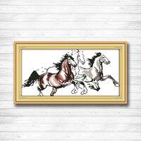 Trzy Do Biegania koni zwierząt Wzór Druk na Płótnie DMC 14CT DMS 11CT Cross Stitch DIY Zestaw Robótki Haft Zestawy Domu wystrój