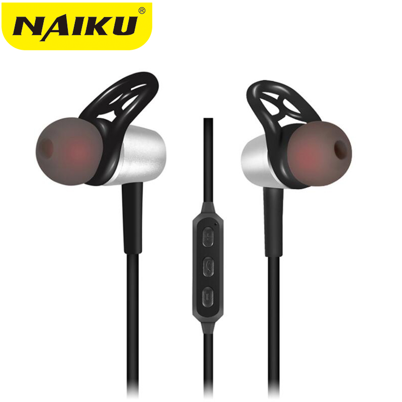 2017 NAIKU Metal Sports Bluetooth Headphone SweatProof Earphone Magnetic Earpiece Stereo Wireless Headset for Mobile Phone