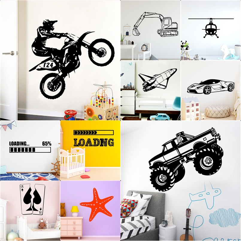 New Design Car Game Airplane Removable Vinyls Stickers Murals For Kids Room Home Decoration Bedroom Decor Wallpaper posters image