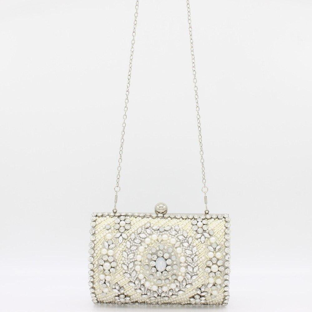 Women Handbags Black Crystal Evening Purse Metal Clutches Silver Beaded Bridal Wedding Box Clutch Bags Bolsos Mujer box clutch purse