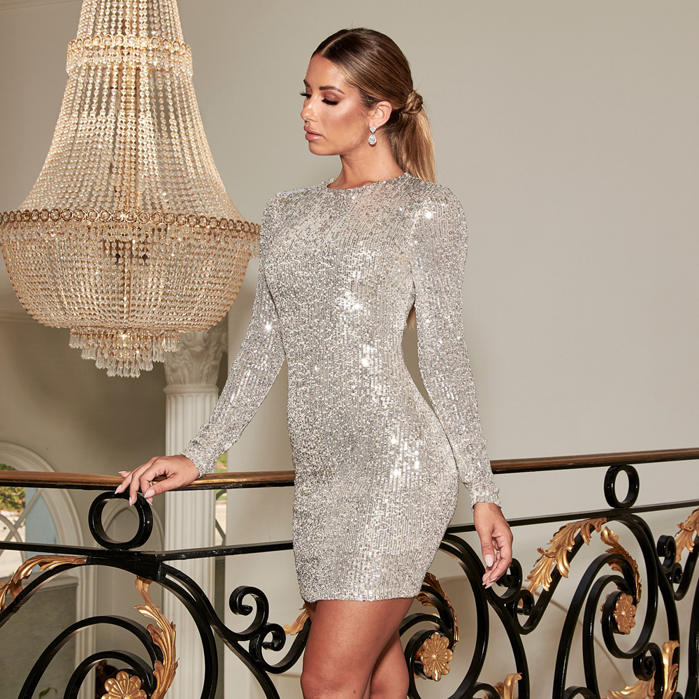 Striped Sequined O Neck Mini Dress Stretchy Full Sleeved Stretch Night Party Dress Short Club Dress