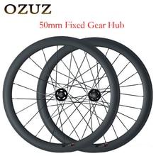 OZUZ Fxed Gear Bike 700C Single Speed Carbon Wheel 50mm Depth Clincher Track Bike Wheelset 23mm