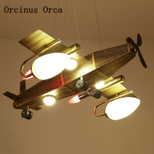 Industrial Wind Retro Aircraft Chandelier Boys'Bedroom Children's Room Lamp American Creative LED Iron Fighter Chandelier