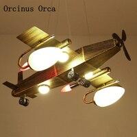 Vento industrial retro aeronaves lustre para meninos quarto das crianças lâmpada americano criativo led ferro lutador lustre